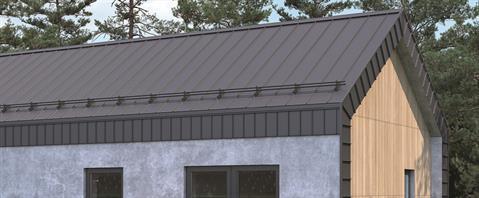 Elegancki dom z dachem bezokapowym i systemem rynien ukrytych